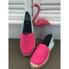 "Espadrilles basques cousues main bicolore ""fuschia/lagoon"""