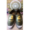 """Espadrilles women, flat and personalized """"smile"""" golden"""