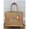 """Large embroidered burlap bag """"be yourself"""""""