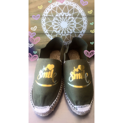 "Espadrilles women, flat and personalized ""smile"" golden"