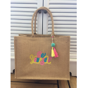 "Large embroidered burlap bag ""be yourself"""