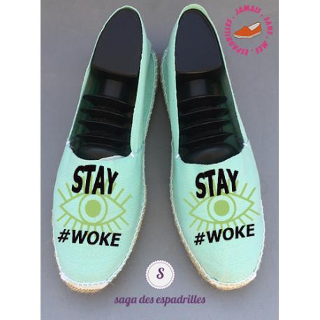 """Véritables espadrilles basques personnalisée """"stay woke"""""""