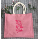 "Sac shopping toile de jute colorée brodé ""take me to the sea"""